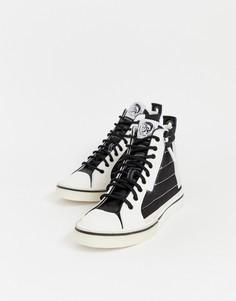 Черно-белые высокие кроссовки Diesel - Черный