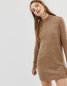 Платье-джемпер с добавлением шерсти Pieces Jane - Коричневый