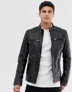 Кожаная байкерская куртка с 4 карманами Barneys original - Черный Barneys Originals
