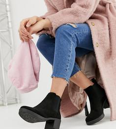 Черные ботинки челси из искусственной замши на толстом каблуке для широкой стопы New Look - Черный
