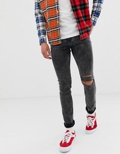 Черные джинсы скинни с рваными коленями Cheap Monday - Черный