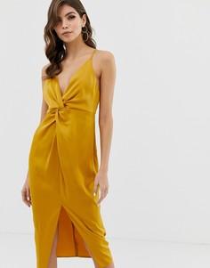 Платье миди на бретельках с глубоким вырезом и узлом ASOS DESIGN - Золотой