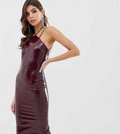 Платье миди из искусственной кожи с халтером и бретельками ASOS DESIGN - Красный