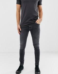 Выбеленные серые супероблегающие джинсы Nudie Jeans Co - Серый