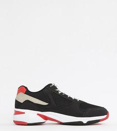 Черные кроссовки на толстой подошве для широкой стопы с красными вставками ASOS DESIGN - Черный