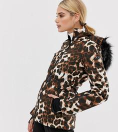 Комбинируемая горнолыжная куртка с поясом, уплотненными вставками и леопардовым принтом ASOS 4505 Tall - Мульти