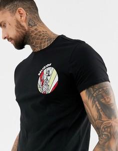 Обтягивающая футболка с вышивкой в виде молящегося скелета Religion - Черный