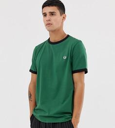 Зеленая приталенная футболка с контрастной отделкой Fred Perry - Зеленый