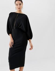 Платье-футляр миди с рукавами летучая мышь и ажурной отделкой ASOS DESIGN - Черный
