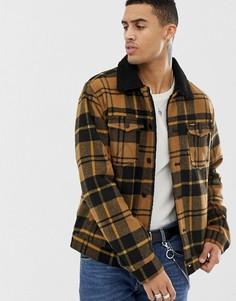 Золотисто-коричневая куртка в клетку с добавлением шерсти и подкладкой из искусственного меха Wrangler - Золотой