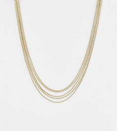 Золотистое ожерелье-цепочка со стразами Liars & Lovers - Золотой