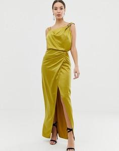 Атласное платье с драпировкой и отделкой Lipsy - Зеленый