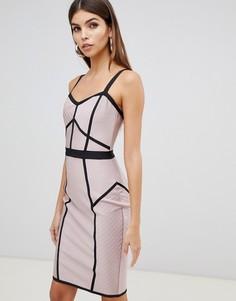Бандажное платье миди в стиле колор блок Lipsy - Мульти