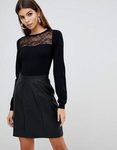 Черное платье 2 в 1 с кружевной отделкой и юбкой из искусственной кожи Lipsy - Черный