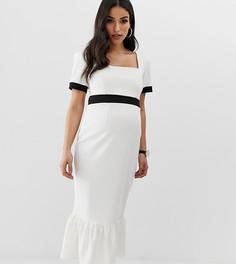 Платье миди в рубчик с отделкой по краю ASOS DESIGN Maternity - Мульти