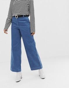 Синие вельветовые брюки прямого кроя Monki - Синий