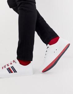 Белые кожаные низкие кроссовки с полосками Tommy Hilfiger corporate - Белый