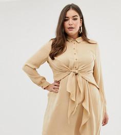 Платье-рубашка цвета шампанского с поясом Missguided Plus - Кремовый