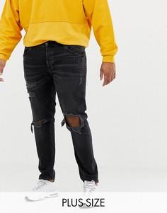 Выбеленные черные рваные джинсы скинни River Island Big & Tall - Черный