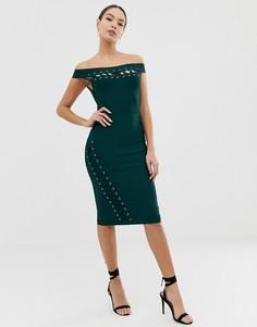 Зеленое бандажное платье миди со шнуровкой Lipsy - Зеленый