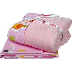 Комплект детского постельного белья Hobby home collection поплин с покрывалом PUFFY, розовый, 100% Хлопок, Покрывало - 100% Полиэстер