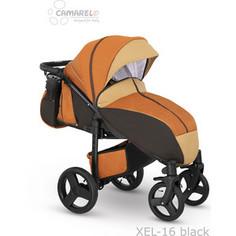 Коляска прогулочная Camarelo ELF оранжевый джинса - бежевая эко кожа XEL-16
