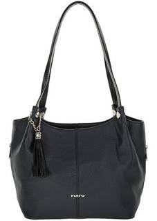 Синяя кожаная сумка с длинными ручками Fiato