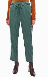Зауженные брюки зеленого цвета в полоску Pepe Jeans