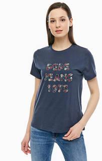 Хлопковая футболка с отделкой пайетками и бисером Pepe Jeans