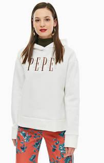 Хлопковая толстовка с капюшоном и вышивкой Pepe Jeans