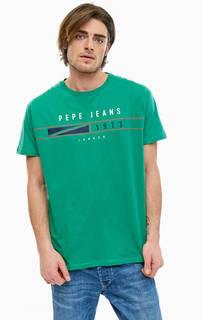 Хлопковая футболка с принтом и круглым вырезом Pepe Jeans