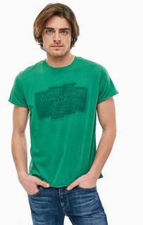 Зеленая хлопковая футболка с круглым вырезом Pepe Jeans