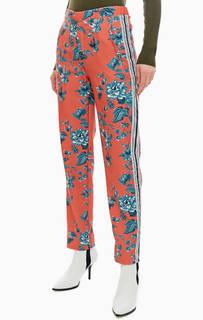 Зауженные оранжевые брюки с цветочным принтом Pepe Jeans