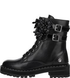Высокие кожаные ботинки на молнии и шнуровке Liu Jo