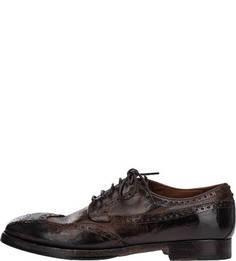 Коричневые кожаные туфли с брогированием Silvano Sassetti