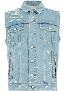 Balmain джинсовая куртка-рубашка без рукавов