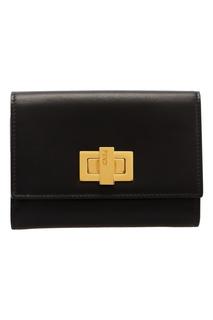 Черный кошелек с золотистым замком Fendi