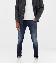 Супероблегающие потертые джинсы Nudie Jeans Co Tall Tight Terry - Синий