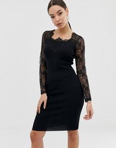 Черное платье с кружевными рукавами Lipsy - Черный