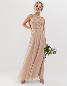 Платье макси с мягкой драпировкой ASOS DESIGN - Бежевый