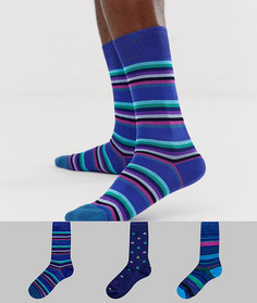 3 пары носков в звездочку и полоску Paul Smith - Синий