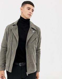 Замшевая байкерская куртка Selected Homme - Серый