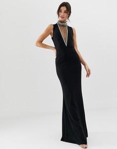 Платье макси с высоким воротом City Goddess - Черный