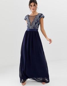 Платье макси с вышивкой City Goddess - Темно-синий