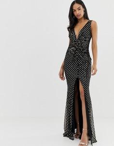 Платье макси с разрезом и пайетками City Goddess - Черный