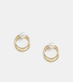 Серебряные позолоченные серьги с искусственным жемчугом Kingsley Ryan - Золотой