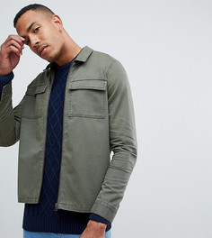 Саржевая куртка на молнии с карманами Another Influence TALL - Зеленый