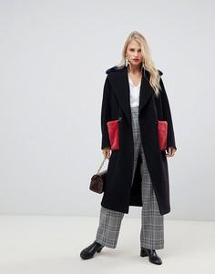 Двубортное пальто с искусственным мехом на карманах Helene Berman - Черный