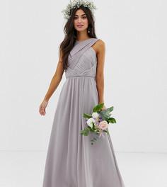 Драпированное платье макси ASOS DESIGN Petite Bridesmaid - Серый