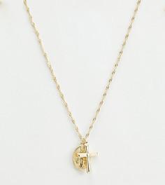 Золотистое ожерелье-цепочка с подвеской-крестом Liars & Lovers - Золотой